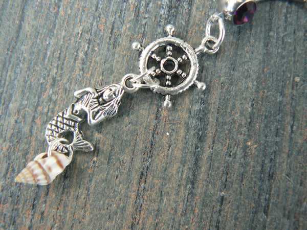 ships wheel  seashell mermaid belly ring mermaid siren ships wheel  in beach boho gypsy hippie belly dancer  beach hipster and fantasy style