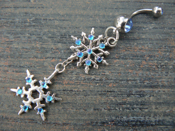 FROZEN snowflake belly ring snowflakes  ice winter Christmas fantasy