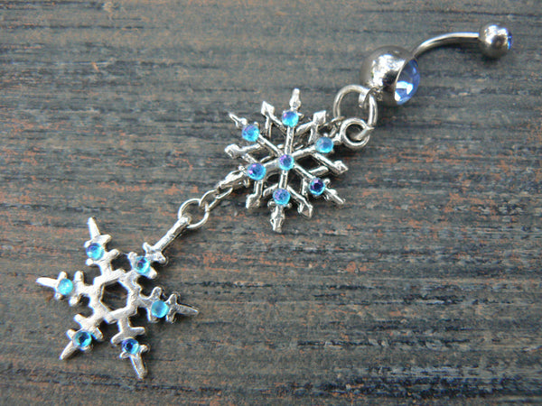 snowflake belly ring frozen belly ring aqua rhinestones in winter Christmas fantasy boho gypsy hippie belly dancer and hipster style