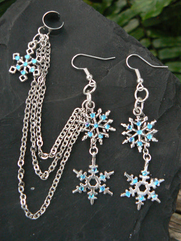 FROZEN ear cuff set snowflake ear cuff SET winter Christmas