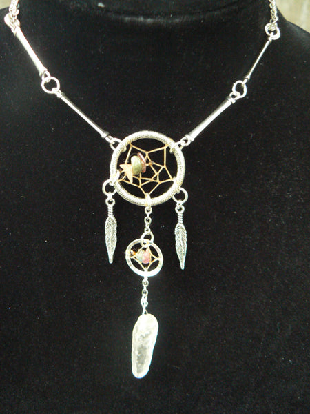 double dreamcatcher necklace tourmaline quartz crystal new age