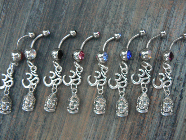 ohm buddha belly ring in silver tone  ONE