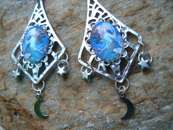mermaid moon goddess earrings mermaid jewelry siren abalone shell mermaid resort wear celestial beach wear high fashion gypsy boho