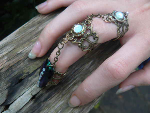 beetle armor ring steampunk ring claw ring triple ring   Goth ring Pagan ring Witch ring