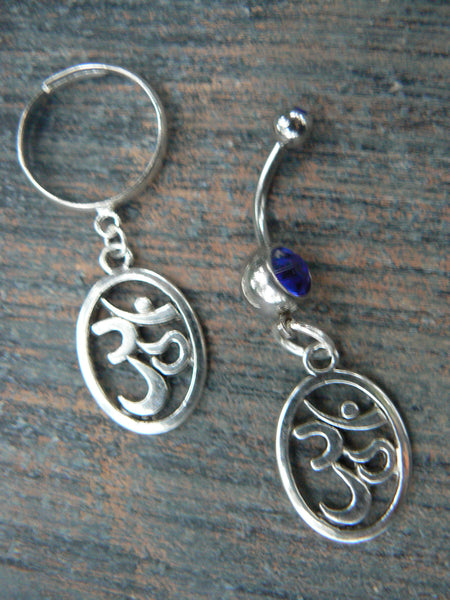 ohm  belly ring and ring set SPECIAL om belly ring om ring in zen yoga Indie new age boho gypsy hippie and hipster style