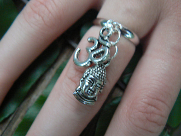 buddha ohm ring buddah  meditation ring in silver tone