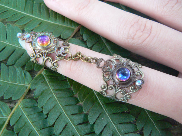 armor ring double chained ring Bermuda blue nail ring claw ring  knuckle ring