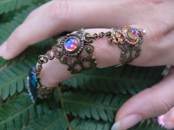 Steampunk armor ring Claw ring  statement triple ring  jewel beetle ring witch ring