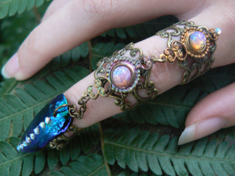 claw ring armor ring triple chained jewel beetle ring nail ring nail tip ring  Harlequin