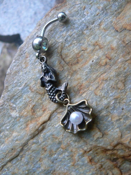 pearl in a shell mermaid siren belly ring  brass mermaid  in beach boho gypsy hippie belly dancer  beach hipster and fantasy style