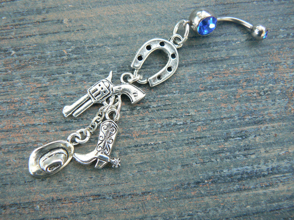 country western belly ring pistol boot spur cowboy hat horseshoe  cowgirl