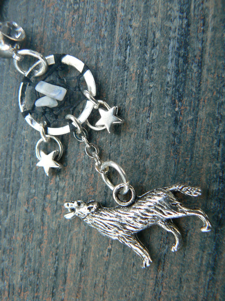 howling at the moon dreamcatcher  belly ring wolf stars moonstones moon goddess in native tribal fusion boho new age and hipster style