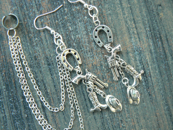 country western ear cuff  chained set