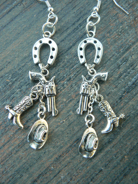 country western earrings cowgirl