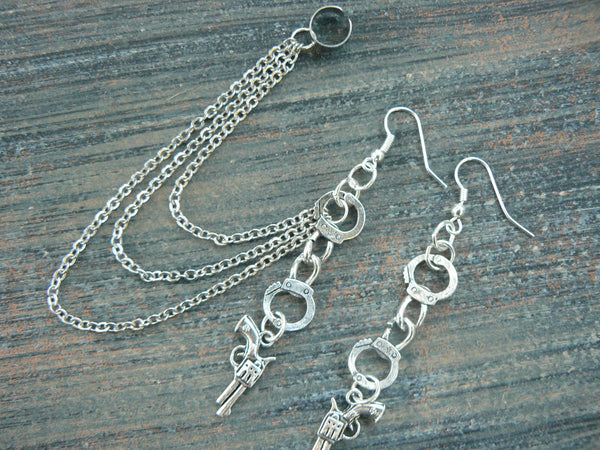 gun and handcuffs chained ear cuff set   outlaw country western
