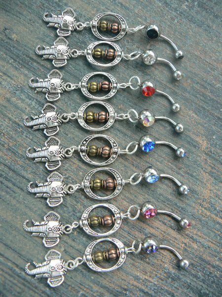 PICK 1 bali elephant belly ring  in zen yoga Indie Morrocan boho hipster new age boho gypsy hippie belly dancer beach and hipster style
