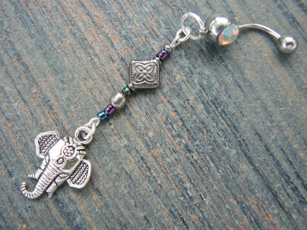 Moroccan elephant belly ring Aurora in zen yoga Indie Moroccan boho hipster new age gypsy hippie belly dancer beach and hipster style