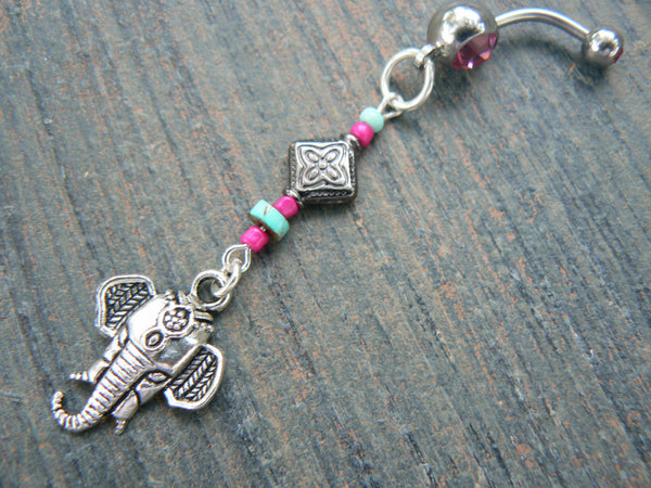 Moroccan elephant belly ring pink and blue in zen yoga Indie Moroccan boho hipster new age gypsy hippie belly dancer beach and hipster style