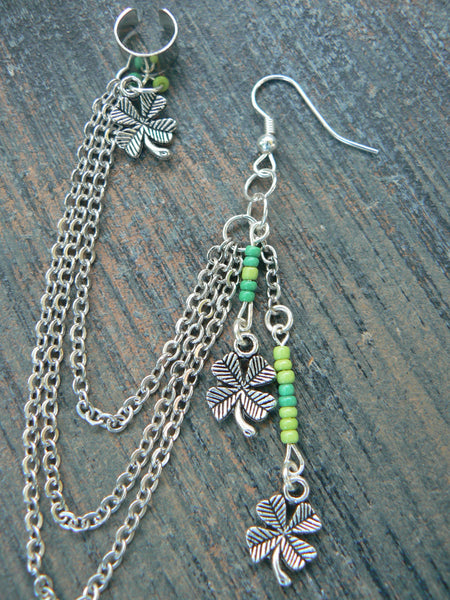 Luck of the Irish chained ear cuff  earring shamrocks four leaf clover st pattys day green lucky fantasy boho gypsy  beach and hipster style