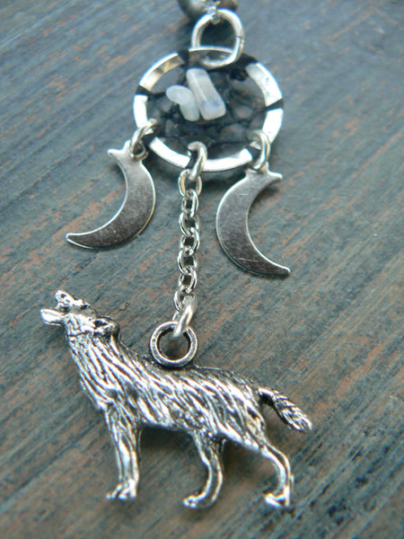 howling at the triple moon dreamcatcher ear cuff wolf moonstones moon goddess pagen in native tribal fusion boho new age and hipster style