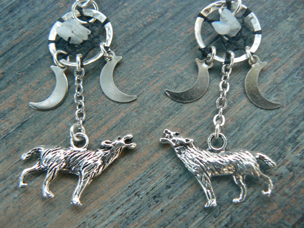 Wolf Earrings howling at the triple moon dreamcatcher moonstone moon goddess pagen native tribal fusion boho new age and hipster style