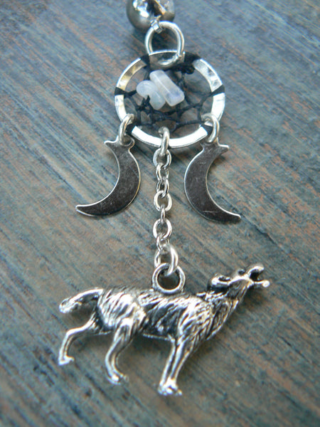 howling at the triple moon dreamcatcher  belly ring wolf moonstones moon goddess pagen in native tribal fusion boho newage and hipster style