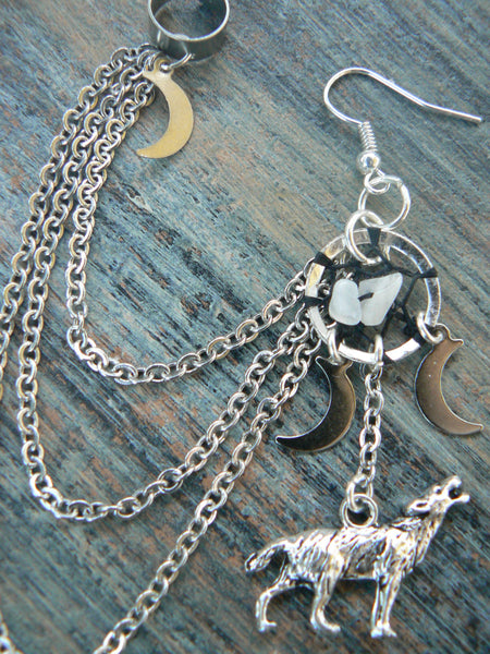 ONE howling at the triple moon dreamcatcher ear cuff wolf  moonstone moon goddess pagen  tribal fusion boho new age and hipster style
