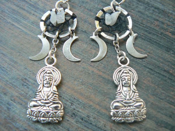 triple moon Earrings Buddha earrings Zen earrings