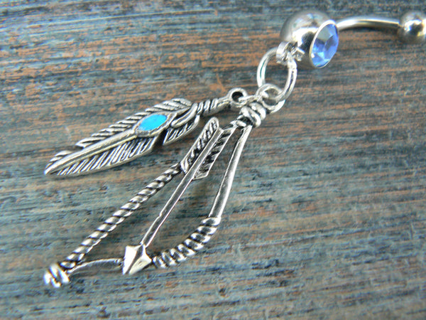 tribal belly ring with turquoise feather