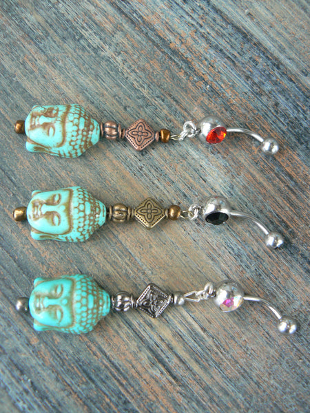 buddha belly ring in howlite turquoise ONE