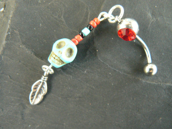 Day of the dead belly ring Día de los Muertos ONE