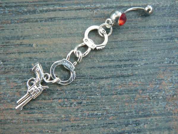 hand cuff belly ring, outlaw belly rings, pick ONE