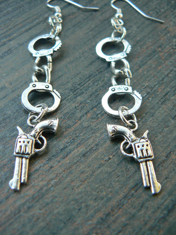country girl earrings ,handcuffs earrings,country western earrings