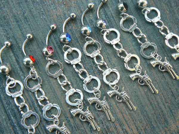 outlaw belly ring , handcuff belly ring
