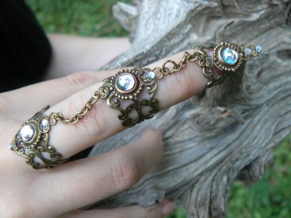 amethyst triple armor ring Steampunk ring claw ring nail tip knuckle ring