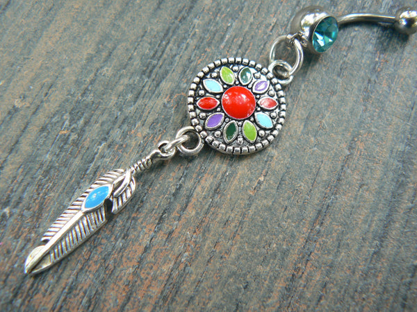 dreamcatcher belly ring TURQUOISE in ribal boho hippie belly dancer beach bohemian