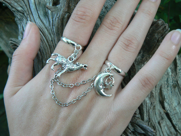 wolf chained double ring, wolf moon ring, statement ring