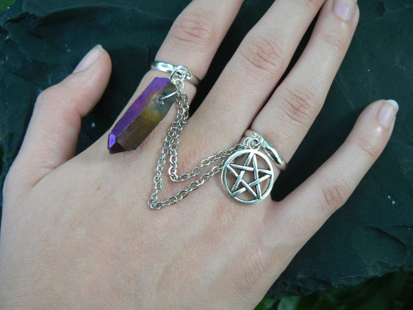 pentagram double ring mystical quartz pentacle chained ring quartz crystal slave ring in fantasy boho Wicca wiccan witch magic hipster style