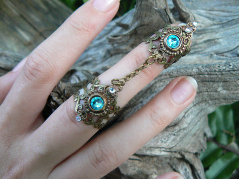 double armor ring chained ring Swarovski Turquoise knuckle ring claw ring nail tip ring