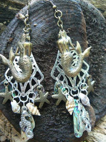 mermaid earrings sea goddess earrings mermaid jewelry siren abalone shell resort wear  hipster bohemian beach wear high fashion gypsy boho
