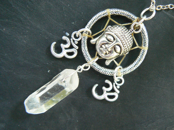 buddha necklace spiritual dreamcatcher  ohm with quartz necklace