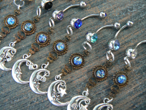 PICK ONE galaxy moon belly ring blue harlequin in beach summer moroccan belly dancer indie gypsy hippie morrocan boho and hipster style