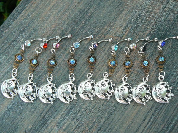 galaxy  sun and moon belly ring blue harlequin
