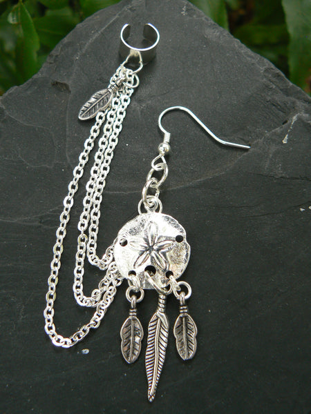 ONE dreamcatcher sand dollar chained ear cuff  feathers in beach boho gypsy hippie  tribal belly dancer  beach hipster and fantasy style