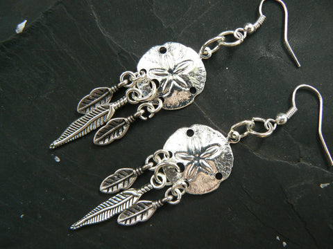 dreamcatcher sand dollar earrings  beach boho gypsy hippie  tribal belly dancer