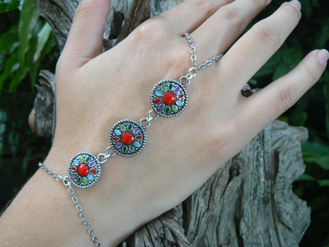 dreamcatcher inspired hand chain mandala hand flower
