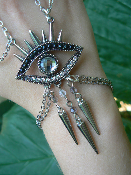 evil eye hand chain ONE hamsa slave bracelet Tribal Fusion Belly dancer