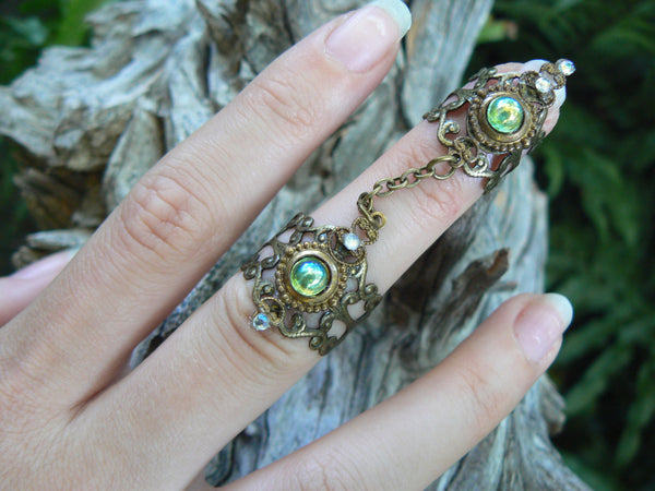 Elfin armor ring double peridot ring claw ring nail tip ring knuckle ring steampunk ring
