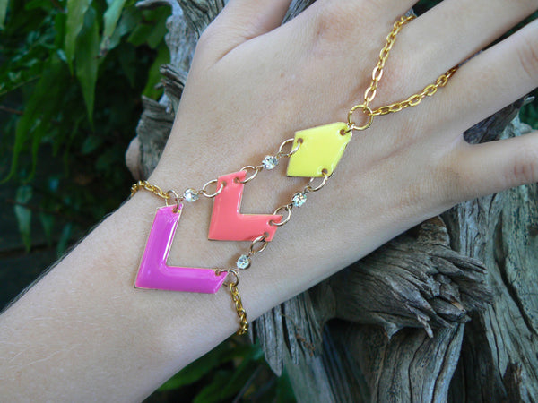 chevron slave bracelet  yellow orange melon purple pink