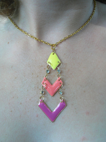 chevron necklace  yellow orange melon purple  pink